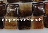 CAG1472 15.5 inches 15*15mm square dragon veins agate beads