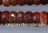 CAG1494 15.5 inches 9*18mm faceted rondelle natural fire agate beads