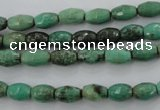 CAG1605 15.5 inches 6*9mm faceted rice green grass agate beads