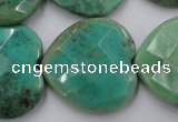 CAG1614 15.5 inches 30*30mm faceted heart green grass agate beads