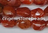 CAG1672 15.5 inches 12*17mm faceted nuggets red agate gemstone beads