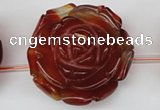 CAG1682 15.5 inches 38mm carved flower red agate gemstone beads