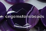CAG205 15.5 inches 50mm faceted coin purple agate gemstone beads