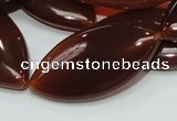 CAG228 15.5 inches 20*40mm marquise red agate gemstone beads