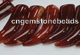 CAG233 15.5 inches 15*46mm horn-shaped red agate gemstone beads
