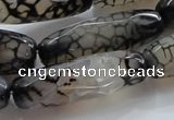 CAG247 15.5 inches 15*40mm faceted column dragon veins agate beads