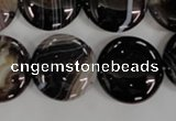 CAG2911 15.5 inches 20mm flat round black line agate beads