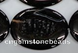 CAG2922 15.5 inches 30*40mm oval black line agate beads