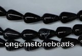 CAG2961 15.5 inches 6*10mm teardrop black line agate beads