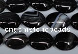 CAG3002 15.5 inches 12*16mm oval black line agate beads
