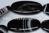 CAG3009 15.5 inches 20*40mm oval black line agate beads