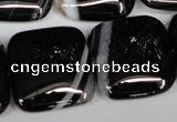 CAG3037 15.5 inches 25*25mm square black line agate beads
