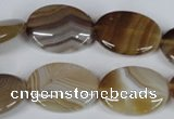 CAG3133 15.5 inches 13*18mm oval brown line agate beads