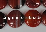 CAG3190 15.5 inches 20mm flat round red line agate beads