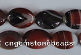 CAG3203 15.5 inches 13*18mm oval red line agate beads