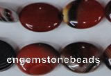 CAG3204 15.5 inches 15*20mm oval red line agate beads