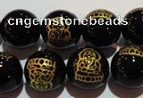 CAG3386 15.5 inches 12mm carved round black agate beads wholesale