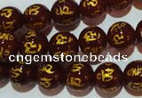 CAG3402 15.5 inches 10mm carved round red agate beads wholesale