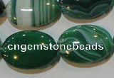 CAG3463 15.5 inches 18*25mm oval green line agate beads
