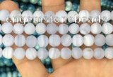 CAG3584 15.5 inches 10mm round matte blue lace agate beads