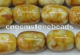 CAG3638 15.5 inches 15*20mm drum yellow crazy lace agate beads