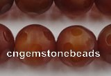 CAG3667 15.5 inches 20mm carved round matte red agate beads