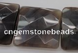 CAG3985 15.5 inches 30*30mm faceted square grey botswana agate beads
