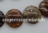 CAG4065 15.5 inches 20mm flat round dragon veins agate beads