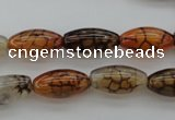 CAG4125 15.5 inches 8*16mm rice dragon veins agate beads