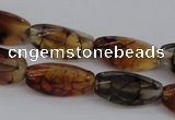 CAG4162 15.5 inches 8*16mm twisted trihedron dragon veins agate beads