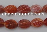 CAG4238 15.5 inches 10*14mm twisted oval natural fire agate beads