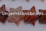 CAG4292 15.5 inches 20*22mm star natural fire agate beads