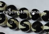 CAG4674 15.5 inches 12mm faceted round tibetan agate beads wholesale
