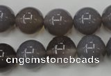 CAG4774 15 inches 14mm round grey agate beads wholesale