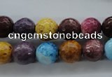 CAG4902 15.5 inches 10mm faceted round dyed white agate beads