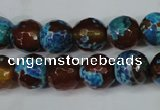 CAG5208 15 inches 10mm faceted round fire crackle agate beads