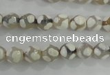 CAG5333 15.5 inches 8mm faceted round tibetan agate beads wholesale