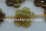 CAG5393 15.5 inches 24mm carved flower dragon veins agate beads
