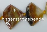 CAG5580 15 inches 20*30mm faceted triangle dragon veins agate beads