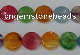 CAG5634 15 inches 12mm flat round dragon veins agate beads