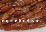 CAG568 15.5 inches 8*10mm rectangle natural fire agate beads