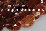 CAG576 15.5 inches 18*25mm faceted oval natural fire agate beads
