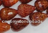 CAG589 15.5 inches 15*20mm faceted teardrop natural fire agate beads