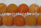 CAG5936 15 inches 14mm round matte druzy agate beads wholesale