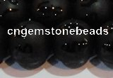 CAG6006 15.5 inches 16mm carved round matte black agate beads