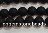 CAG6012 15.5 inches 8mm round matte black agate beads