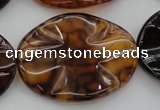 CAG6062 15.5 inches 30*40mm wavy oval dragon veins agate beads