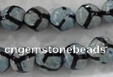 CAG6188 15 inches 14mm faceted round tibetan agate gemstone beads