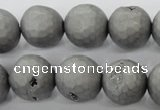 CAG6232 15 inches 8mm faceted round plated druzy agate beads