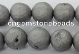 CAG6235 15 inches 14mm faceted round plated druzy agate beads